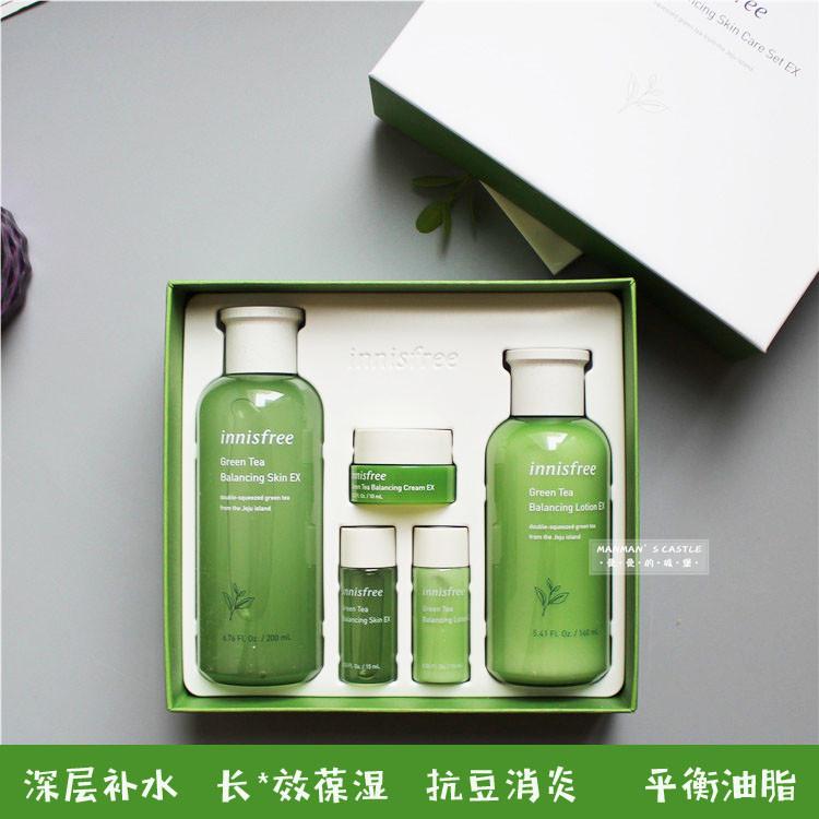 韩国innsifree悦诗风吟水乳两件套装绿茶补水保湿平衡水油女5件套图片