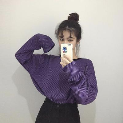 颜色可爱~经典细条纹长袖TEE 4色 韩国复古软妹学院宽松打底衫T恤