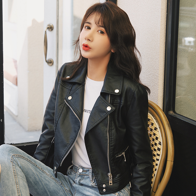 2020 new leather coat womens spring and autumn street fashion Lapel leather jacket womens European and American high-quality short leather women