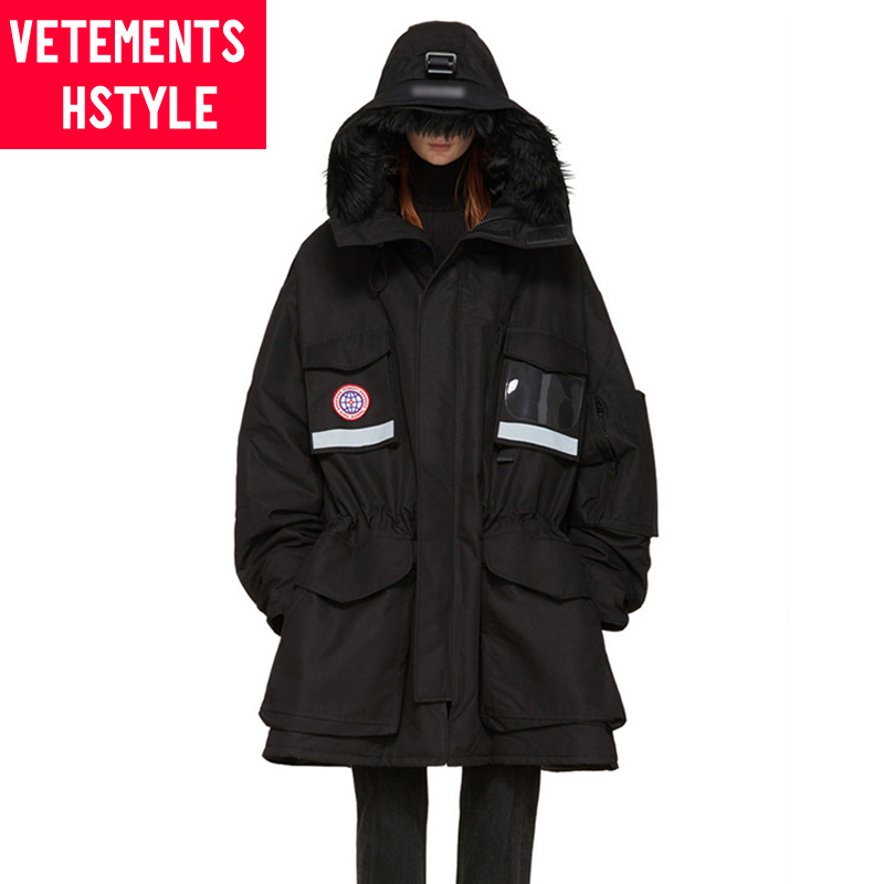 Vetements hstyle Guan Xiaotong GD same black down jacket casual loose overcoat fashion