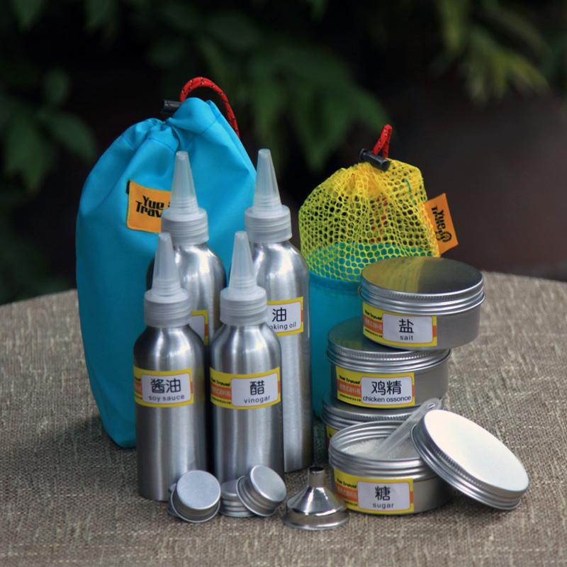 户外旅行便携式调料瓶套装密封带孔野营调味罐铝盒迷你轻可装液体