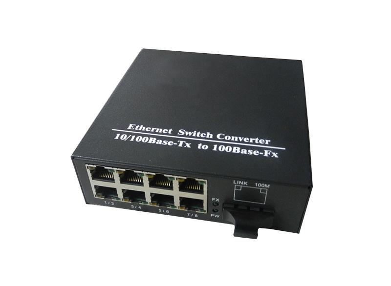 电双纤光纤收发器光电转换器一光八电光纤收发器光电转换8光1百兆