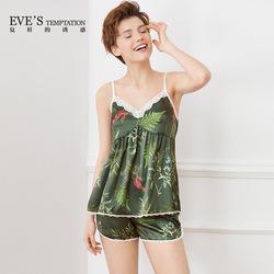 夏娃的诱惑瑜瑾家居服女士薄款印花吊带睡衣女夏季两件套短裤套装