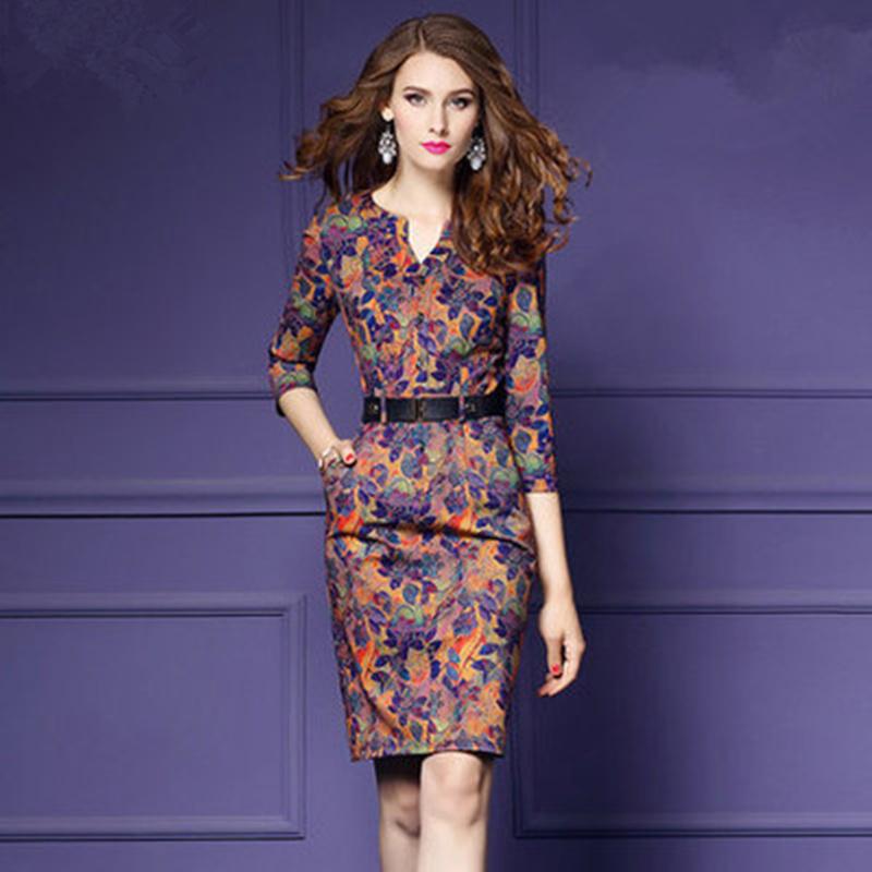天天特价2017秋季新款女装印花V领七分袖加厚修身包臀一步连衣裙