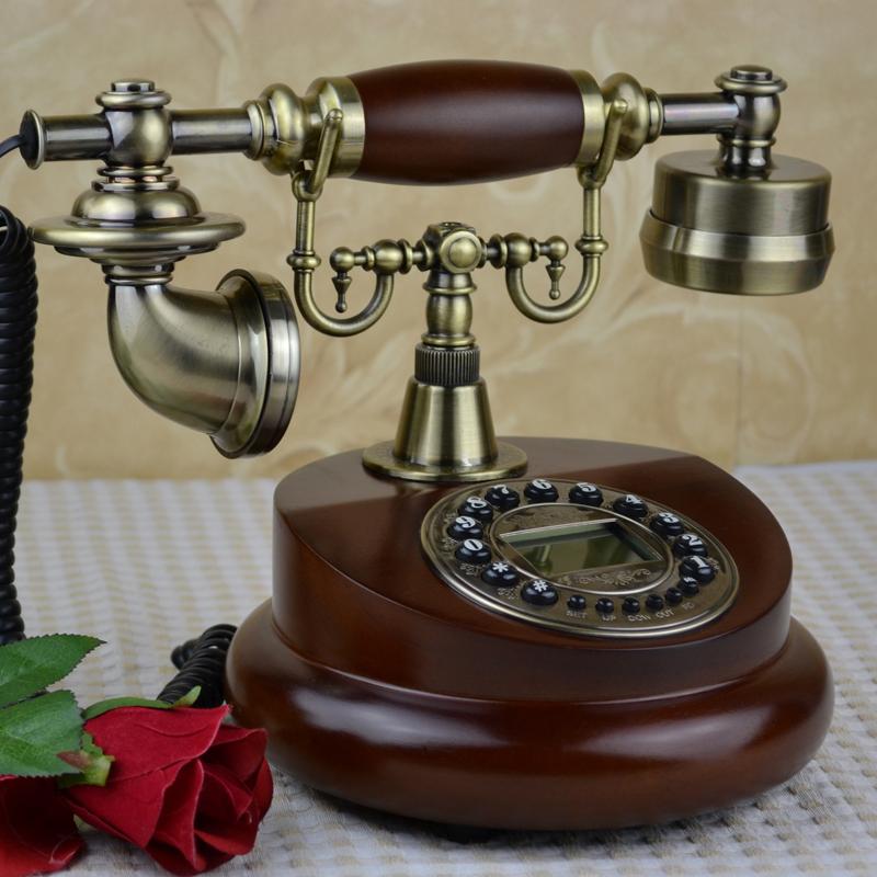 欧式仿古电话机美式时尚古董实木座机家用无线时尚插卡复古电话