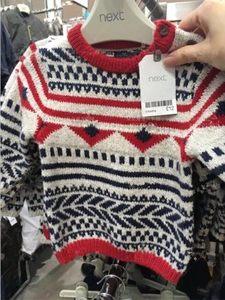 现货英国童装Next男童宝宝几何图形秋冬厚款保暖毛衣套头衫