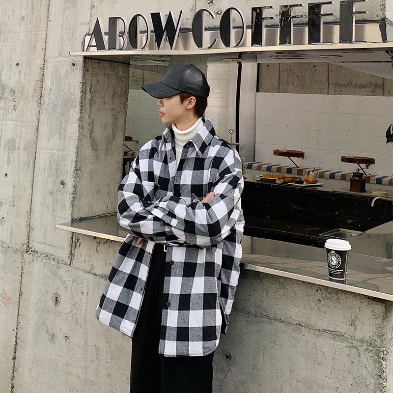 黑白格子外套棉衣男士棉服冬季新款加棉衬衫韩版开衫2019新款冬季