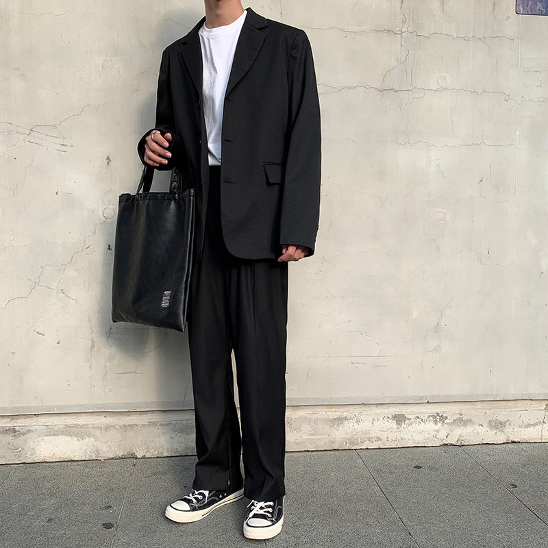 白口阳 基本款西装男外套韩版宽松上衣精致韩风慵懒风纯色西服