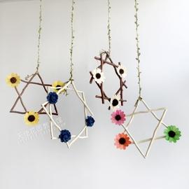幼儿园班级吊饰田园风环境布置材料区域隔断走廊创意手工树枝挂饰图片