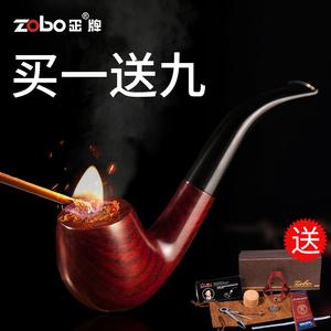 领3元券购买zobo正牌黑檀木过滤烟斗老式手工套装烟丝散装实木家用男士烟斗嘴