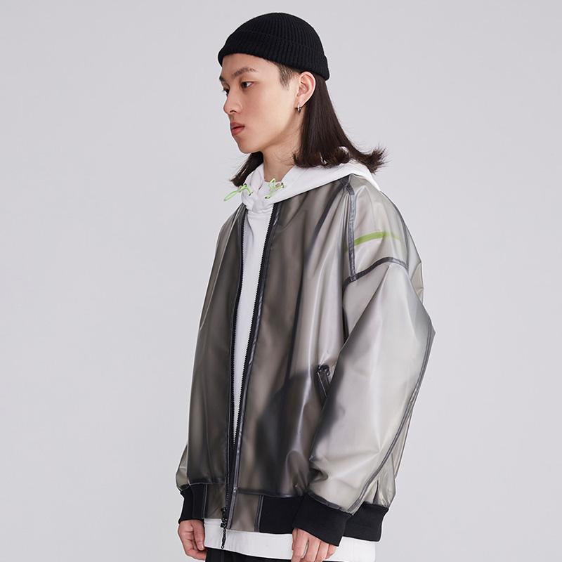 Warning fashion brand PVC translucent functional hip hop casual jacket