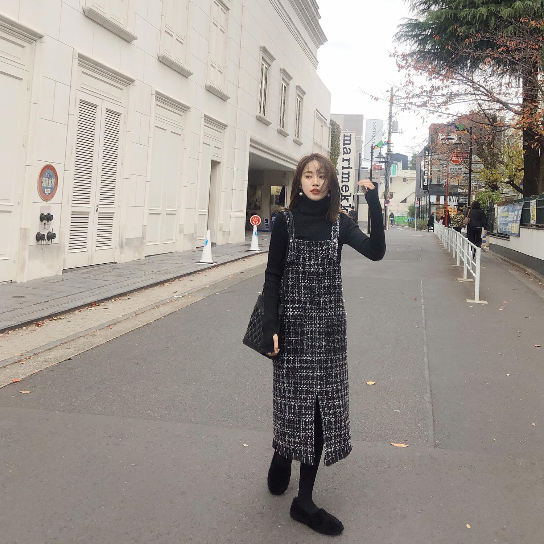 冬季连衣裙女2018新款潮流女装 韩版百搭毛边黑白格子背带裙秋冬
