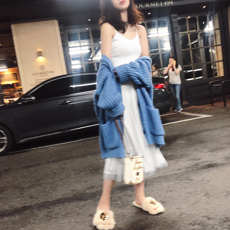 早秋新款女装2018气质女神范衣服秋 网纱吊带裙高腰中长款连衣裙