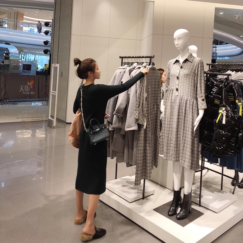 秋季女2018新款衣初秋女装 韩版中长款修身毛衣裙长袖针织连衣裙