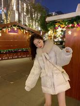 白色羽绒棉服女新款2019年冬季韩版宽松中长款收腰棉衣棉袄派克服