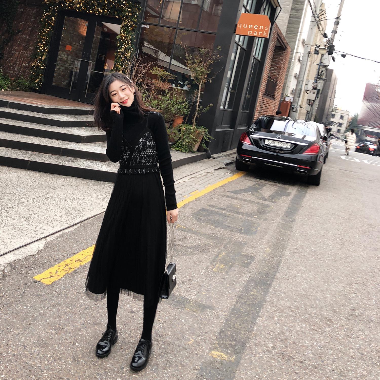 2018秋冬新款女装网纱拼接黑色法式复古裙中长款收腰吊带裙连衣裙
