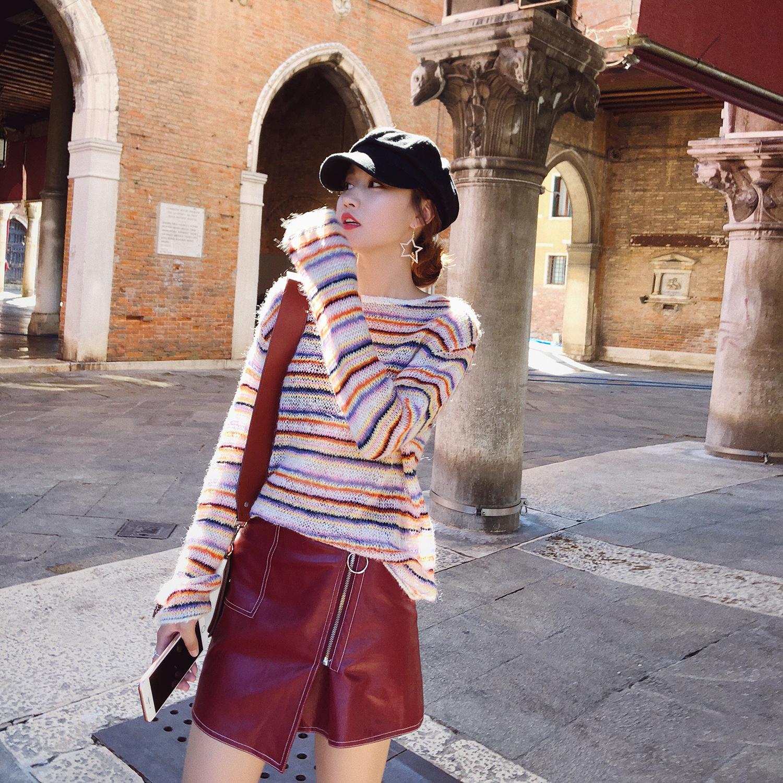 女装秋装2018新款时尚潮 韩版休闲条纹薄款甜美小清新套头毛衣女
