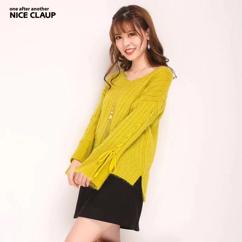 One hundred yuan 3 pieces Japanese single sweet bow tie with flared sleeve soft fluffy vertical stripe loose sweater