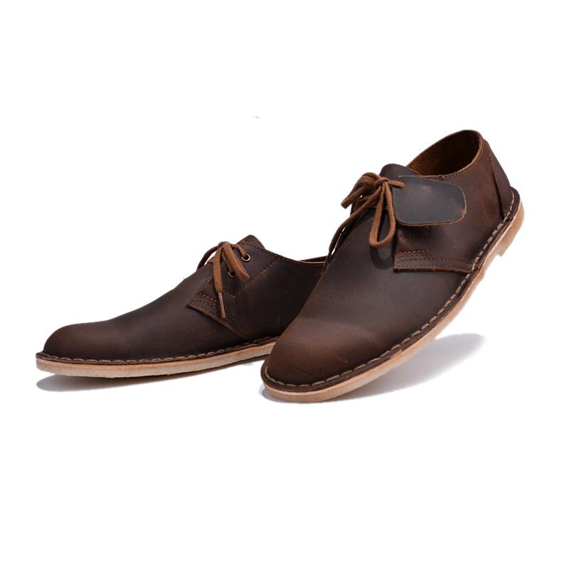 直销英伦男鞋疯马皮马丁靴低帮沙漠靴复古透气薄底