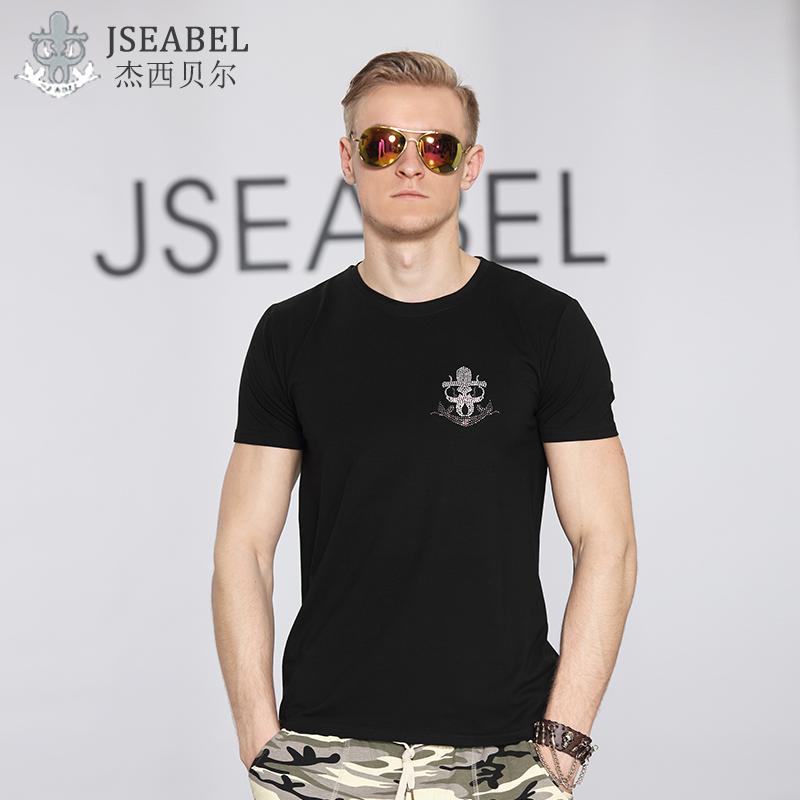 2016新款欧美修身品牌男装短袖T恤 弹力莱卡棉莫代尔潮牌大码T恤券后98.00元