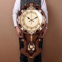 大号欧式挂钟客厅钟表意静音钟表复古摆钟豪华墙壁钟16寸新品上市