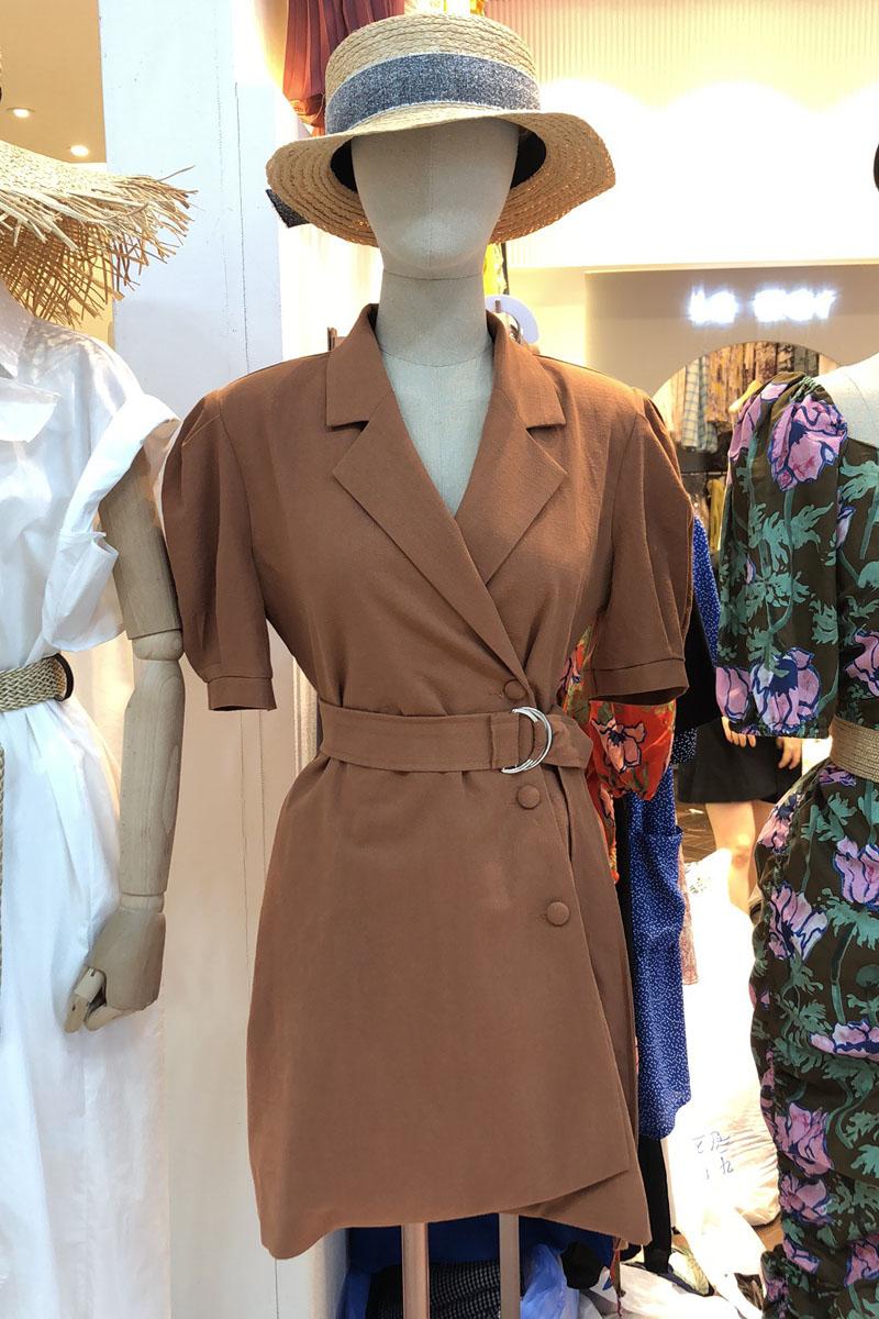 腰带短裙苏兰家韩国代购2019夏季新款 La mar法式桔梗裙 维多利亚