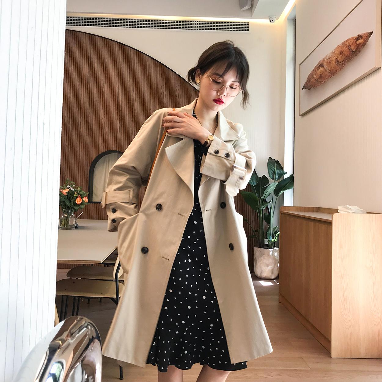 花栗鼠小姐 2018秋新款双排扣中长款风衣chic小个子外套