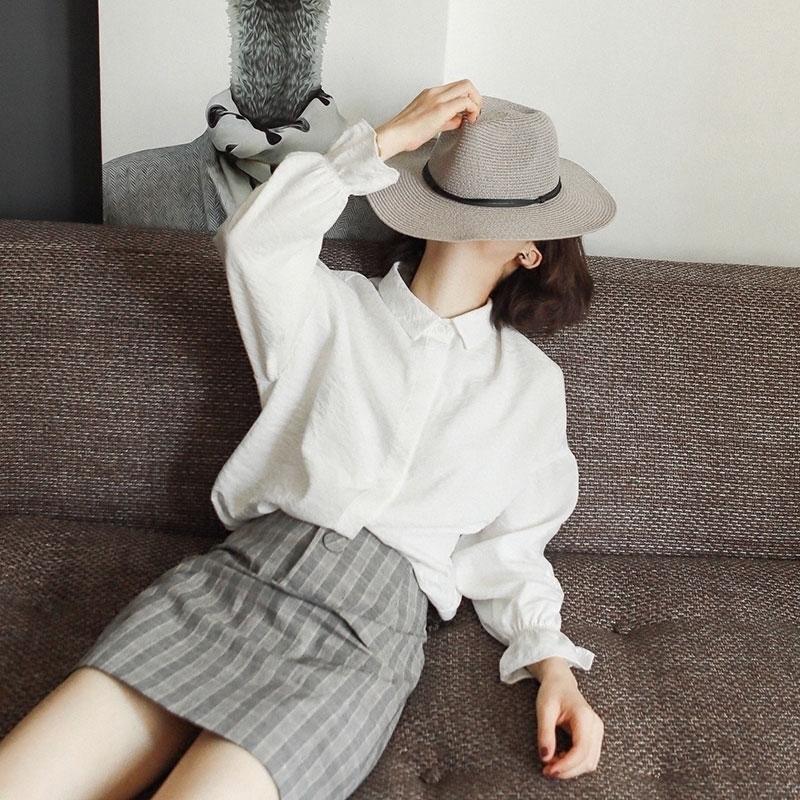 花栗鼠小姐 春秋季衬衫女长袖百搭小清新甜美软妹灯笼袖白色衬衣