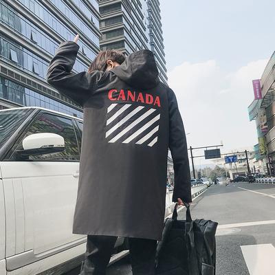 已注册版权 2018 秋新款 连帽长袖印花薄款风衣外套 J8838-P115