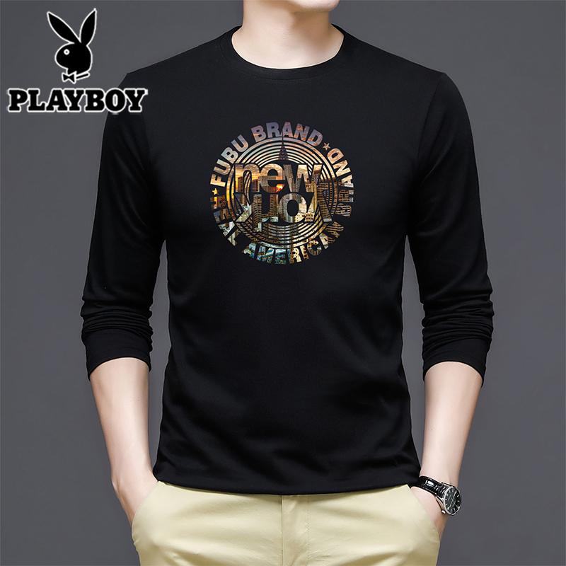 Playboy mens round neck Cotton Long Sleeve T-Shirt
