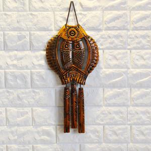 家居门上装饰品木雕招财鱼中式桃木复古客厅壁饰福挂件挂饰壁挂