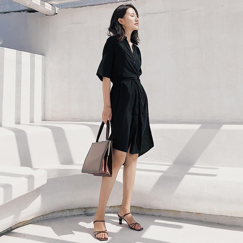 限时秒杀黑色衬衫连衣裙女2019夏季短袖法式设计感chic赫本风心机小黑裙子