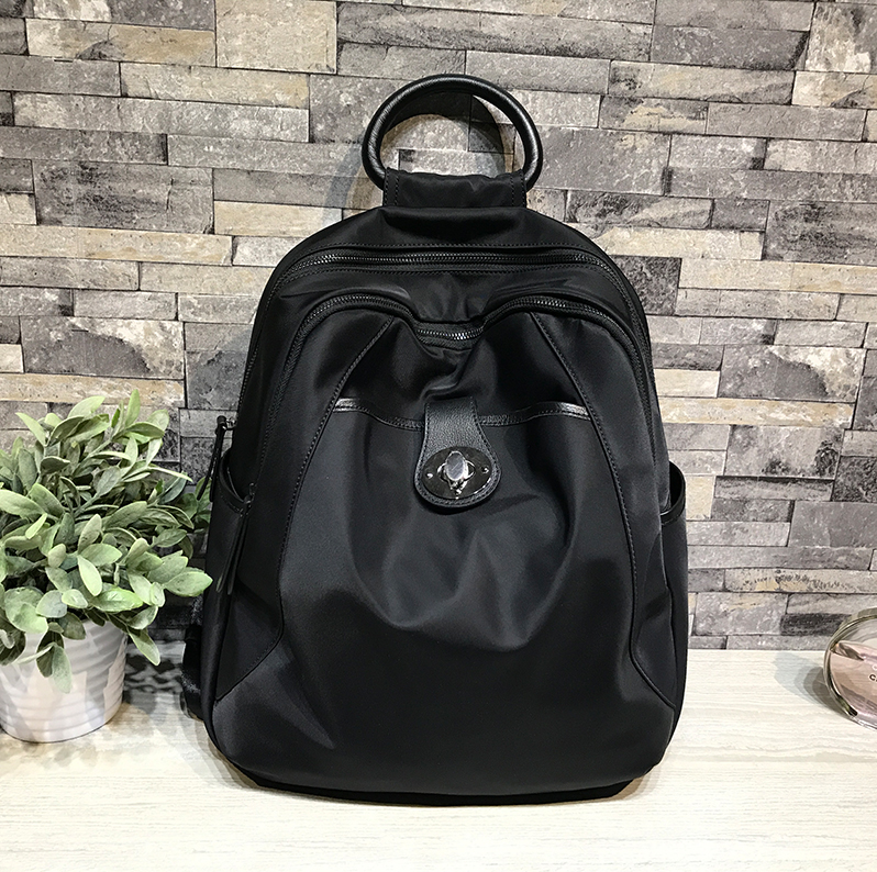 Abahouse backpack womens bag imported waterproof Oxford cloth with cowhide fashion travel high-capacity fashion leisure
