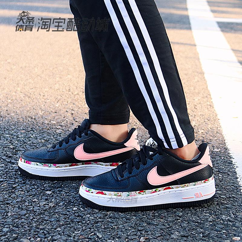NIKE耐克运动鞋Air Force 1 GS空军一号黑粉花卉板鞋女BQ2501热销10件不包邮