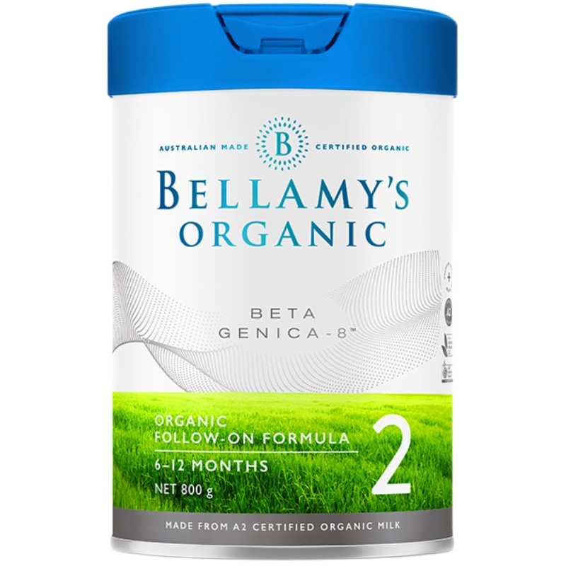贝拉米高端系列白金版有机A2婴儿配方奶粉2段(6-12个月)800g/罐*4