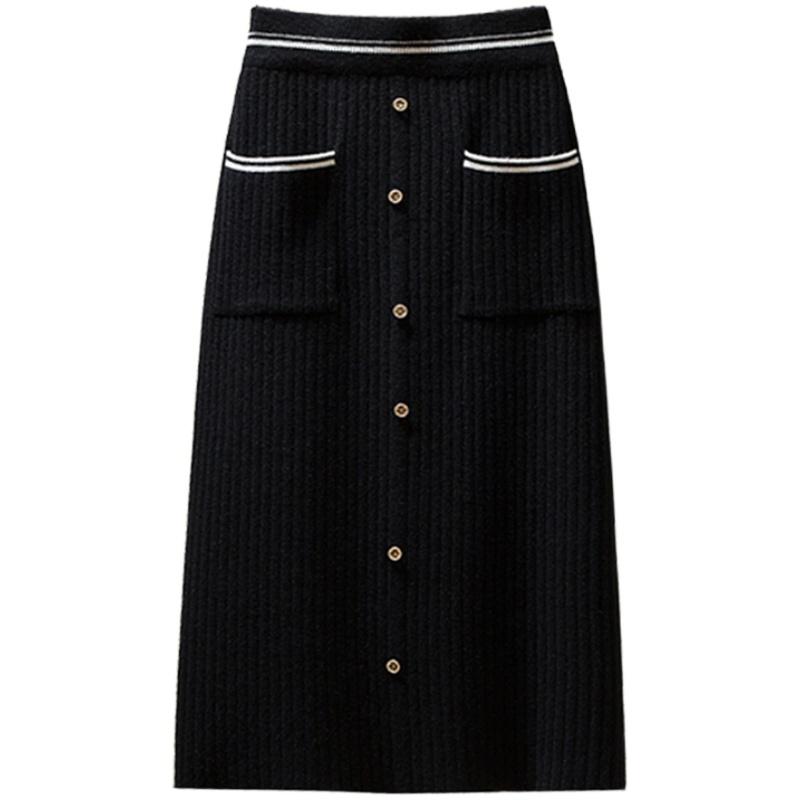 针织半身裙女秋冬中长款拼色小香风单排扣高腰开叉毛线包臀一步裙