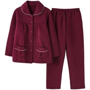 佐黛兰秋冬季空气棉夹层纯棉薄睡衣