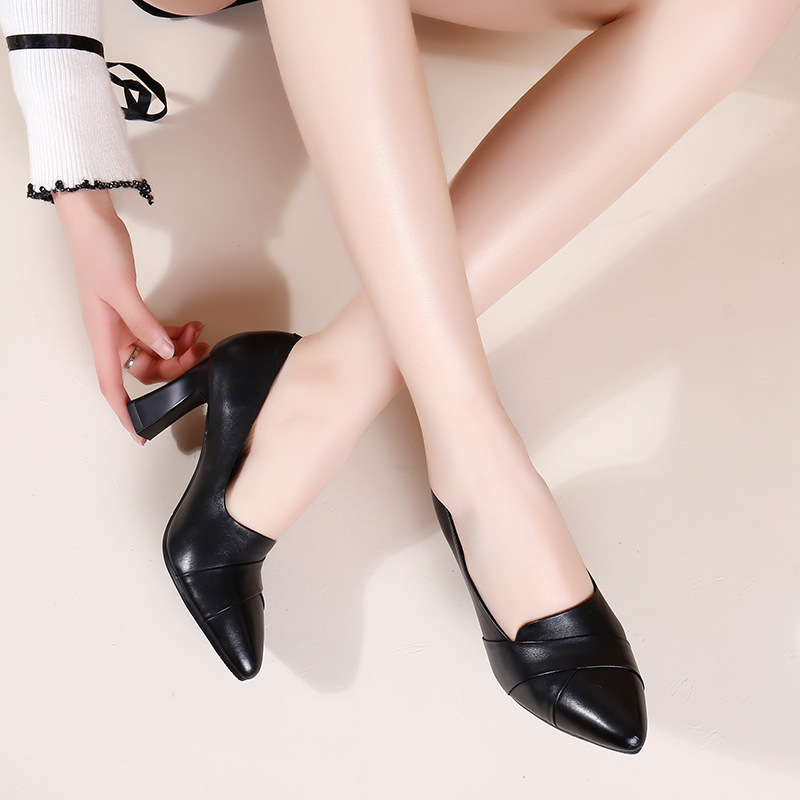 Leather pointed single shoes womens new professional high heels in spring and summer 2020 womens shoes are versatile and work small leather shoes