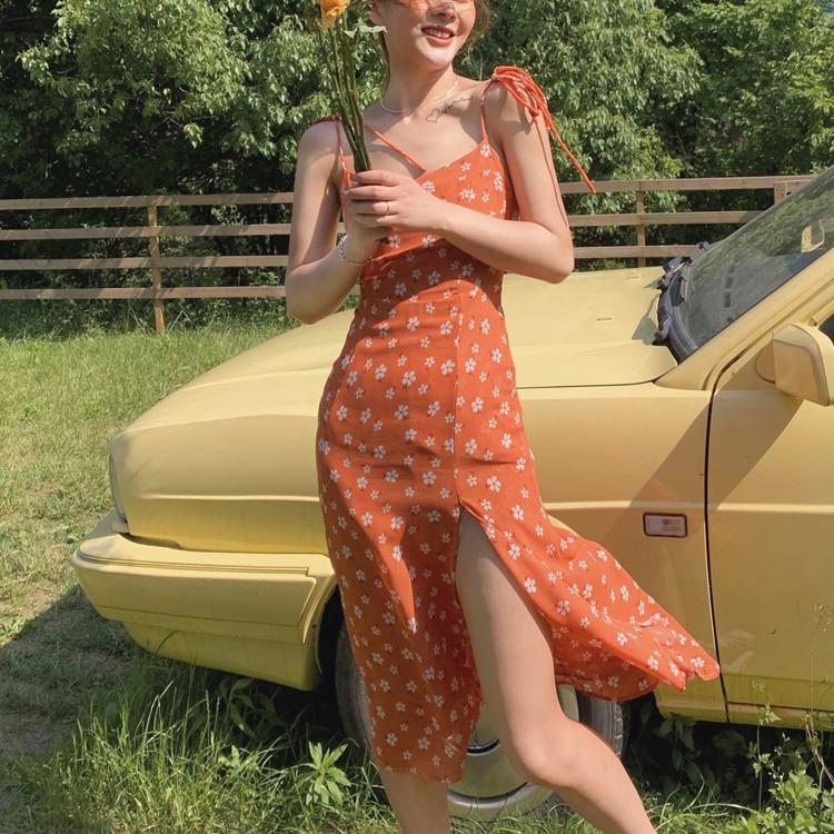 2020夏渡假欧美复古ins修身显瘦橘色开叉仙女雪纺吊带长裙连衣裙