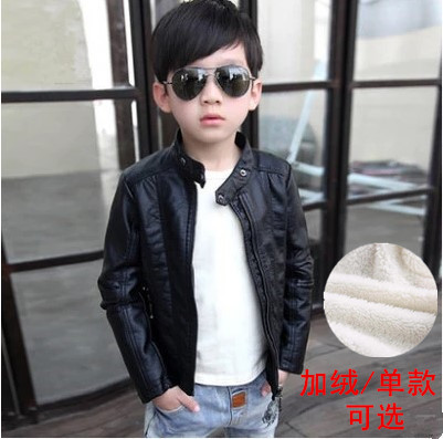 Boys leather clothes childrens coat boys clothes middle-aged childrens baby spring and autumn 2020 new plush thickened autumn and winter jacket
