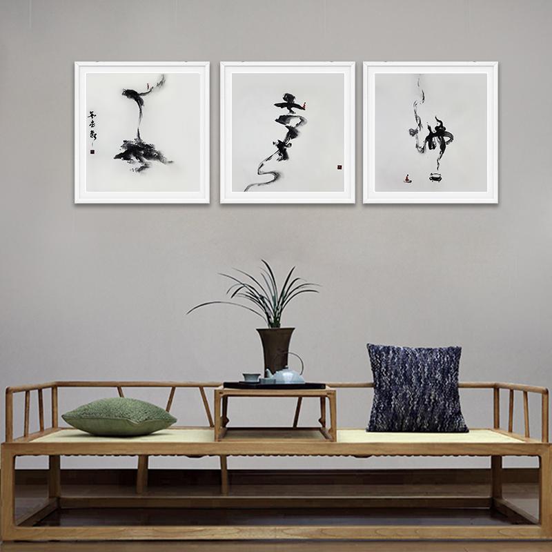 原創純手繪水墨國畫抽象新中式餐廳裝飾畫禪意花鳥真跡定制床頭畫