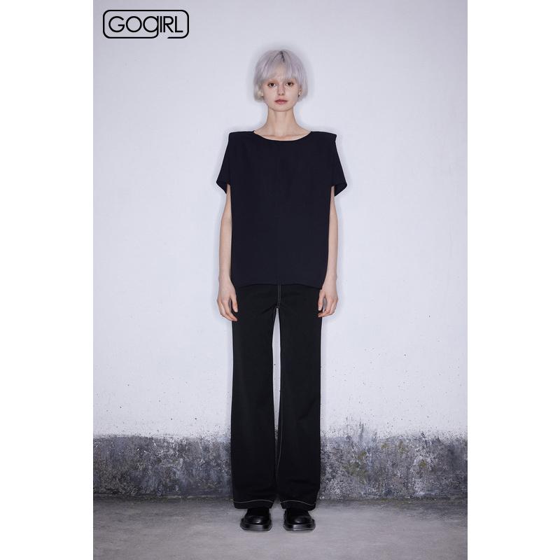 【专柜同款】GOGIRL 2021春装新品阔腿休闲长裤女GR1F08