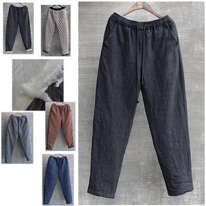 男士休闲棉裤宽松冬季棉花加厚外穿大码中国风男装亚麻裤保暖黑色