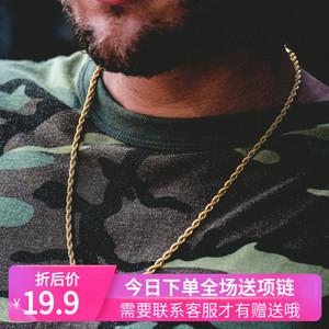 hiphop嘻哈金项链 钛钢麻花假金链子 网红项链 不掉色百搭挂件