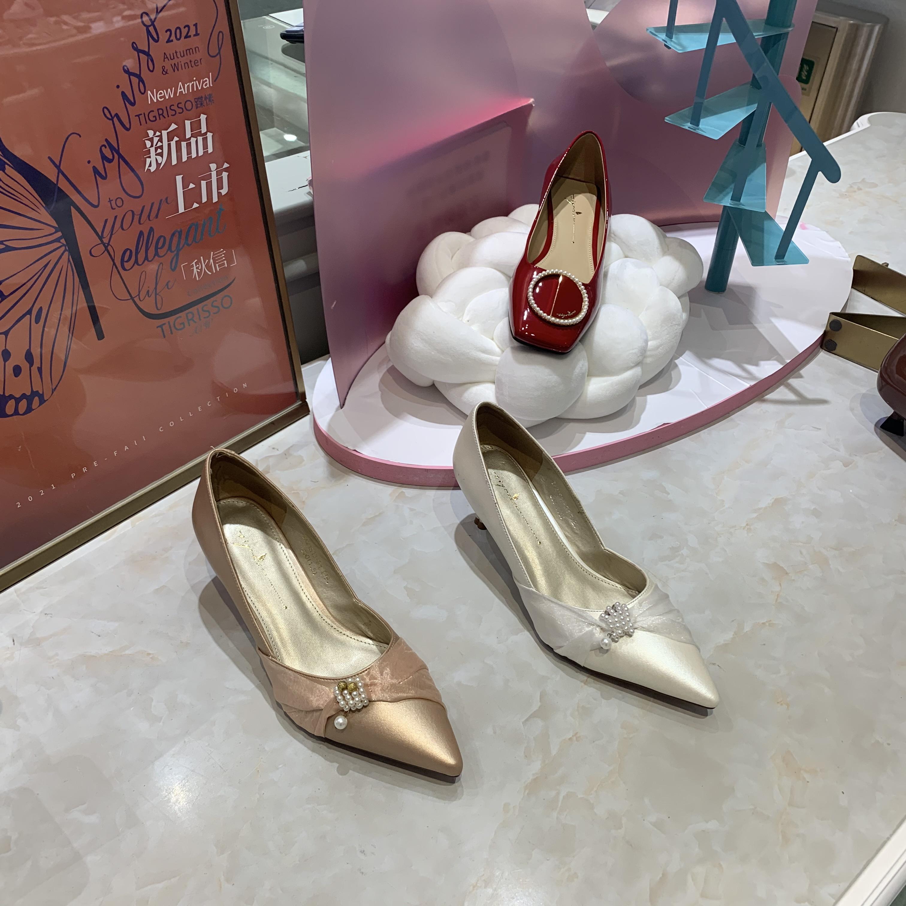 Shusu ts2021 Autumn New Pearl gauze pointed stiletto fairy Orsay wedding single shoes ta21513-81