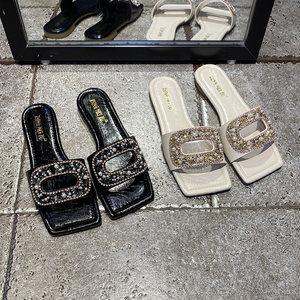韩版2020夏季新款拖鞋女外穿百搭时尚网红水钻扣一字拖洋气女鞋潮