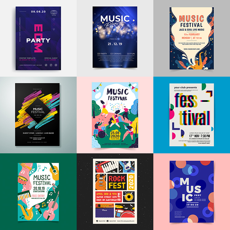 Music Festival poster retro trend personalized pop concert background AI format vector design material