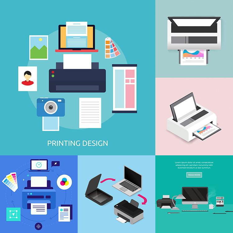 扁平化打印机插画AI矢量素材 办公设备照片输出彩印调色 设计素材
