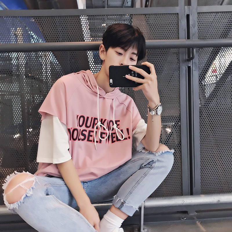 新款夏季韩版潮流原宿风bf宽松五分短袖t恤男个性潮牌假两件带帽