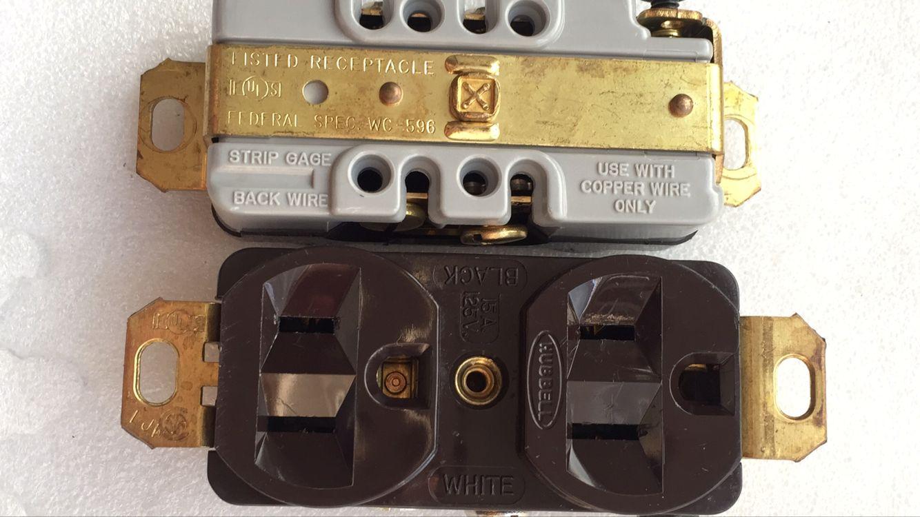 美��本土HUBBELL�源插座WC-596 ��~�源插座芯 美�俗�15A125V